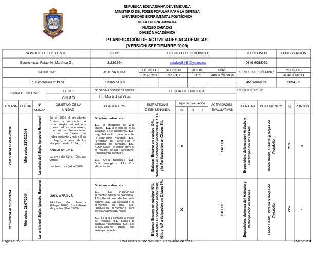 3.230.594 DÍAS Lunes-Miércoles COORDINADOR DE CARRERA: Lic. María José Ojea ACTIVIDADES D S F EVALUATIVAS X TALLER X TALLE...