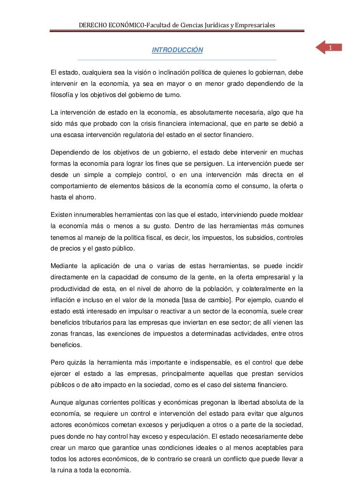 DERECHO ECONÓMICO-Facultad de Ciencias Jurídicas y Empresariales                                     INTRODUCCIÓN         ...