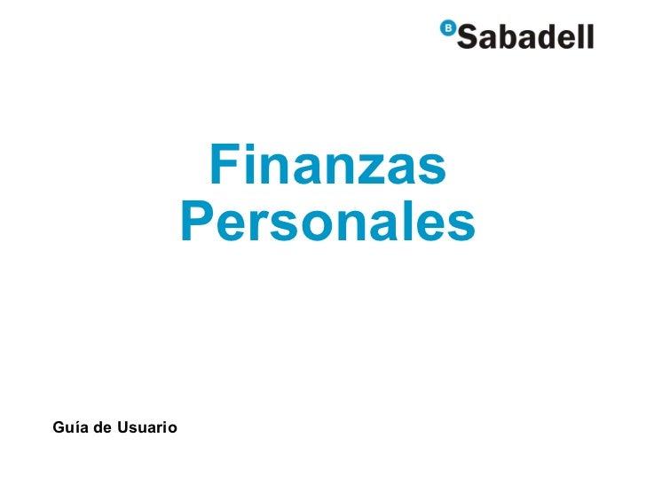 Finanzas Personales Guía de Usuario