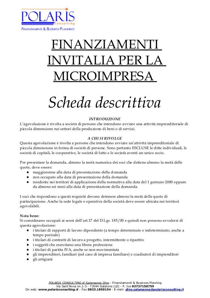 FINANZIAMENTI                INVITALIA PER LA                 MICROIMPRESA                Scheda descrittiva              ...