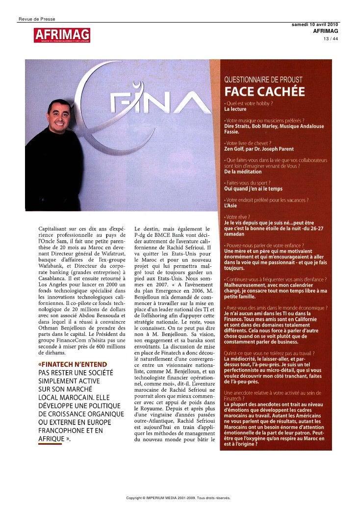 Revue de Presse                                                                                 samedi 10 avril 2010      ...