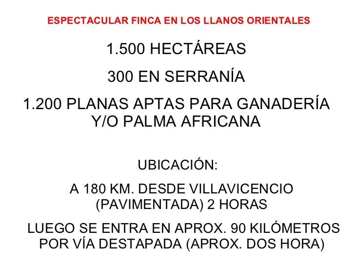 ESPECTACULAR FINCA EN LOS LLANOS ORIENTALES 1.500 HECTÁREAS 300 EN SERRANÍA 1.200 PLANAS APTAS PARA GANADERÍA Y/O PALMA AF...