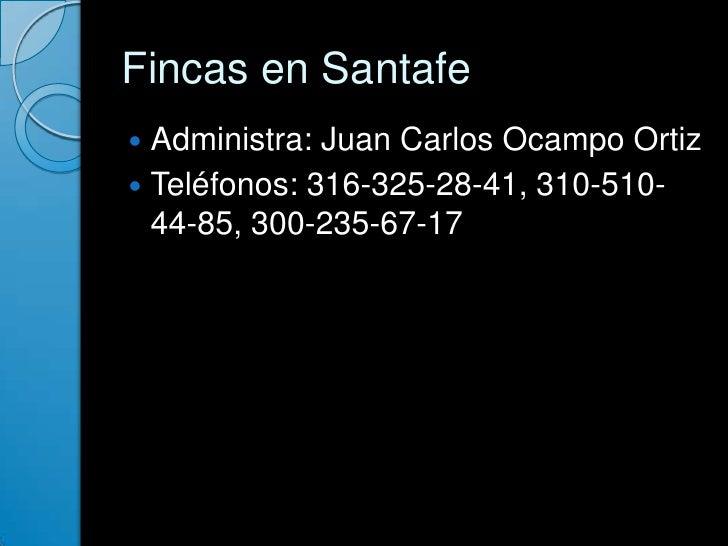 Fincas en Santafe<br />Administra: Juan Carlos Ocampo Ortiz<br />Teléfonos: 316-325-28-41, 310-510-44-85, 300-235-67-17<br />