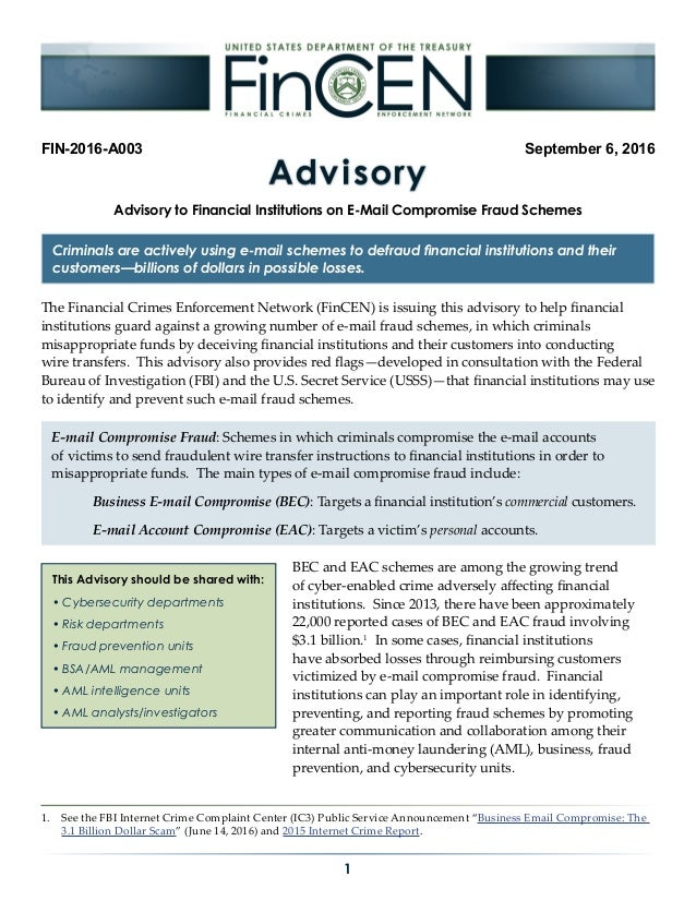 Advisory to Financial Institutions on E-Mail Compromise Fraud Schemes