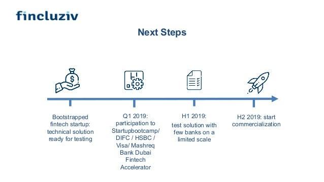 Next Steps Q1 2019: participation to Startupbootcamp/ DIFC / HSBC / Visa/ Mashreq Bank Dubai Fintech Accelerator H1 2019: ...