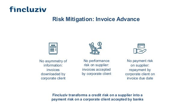 Risk Mitigation: Invoice Advance No asymmetry of information: invoices downloaded by corporate client No payment risk on s...