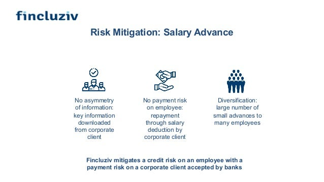 Risk Mitigation: Salary Advance No asymmetry of information: key information downloaded from corporate client Diversificat...