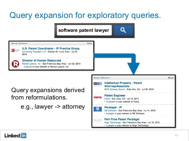 Query expansion for exploratory queries. 17 software patent lawyer Query expansions derived from reformulations. e.g., law...