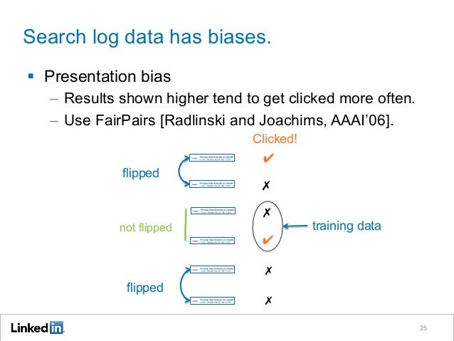 Search log data has biases. 25 § Presentation bias – Results shown higher tend to get clicked more often. – Use FairPa...