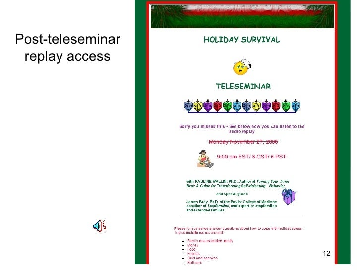 Post-teleseminar replay access