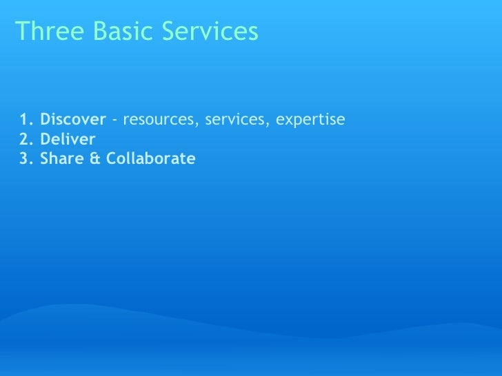 Three Basic Services   1. Discover - resources, services, expertise 2. Deliver 3. Share & Collaborate