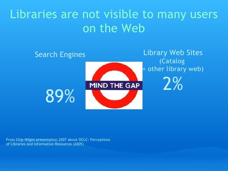 Libraries are not visible to many users                 on the Web                  Search Engines                        ...