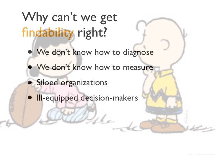 Why can't we getfindability right?• We don't know how to diagnose• We don't know how to measure• Siloed organizations• Ill-...