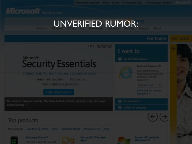 UNVERIFIED RUMOR:         90% of Microsoft.com contenthas never been accessed...