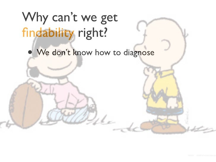 Why can't we getfindability right?• We don't know how to diagnose• We don't know how to measure