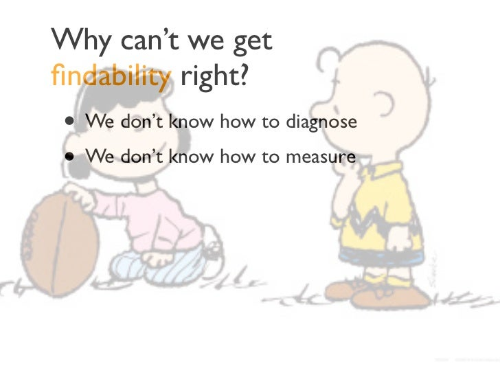 Why can't we getfindability right?• We don't know how to diagnose• We don't know how to measure• Siloed organizations