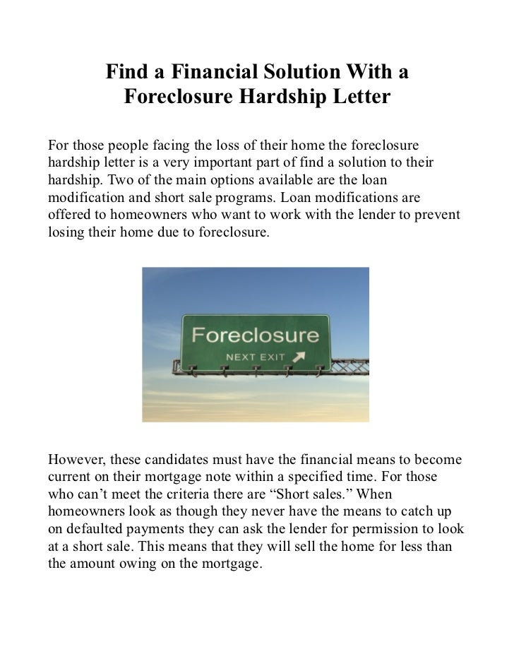 What are some brief components of a financial hardship letter?