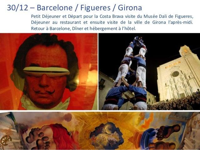 30/12 – Barcelone / Figueres / Girona      Petit Déjeuner et Départ pour la Costa Brava visite du Musée Dali de Figueres, ...