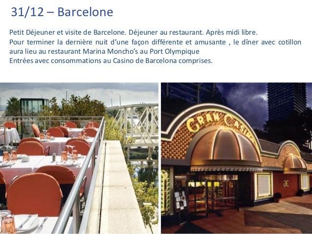 31/12 – BarcelonePetit Déjeuner et visite de Barcelone. Déjeuner au restaurant. Après midi libre.Pour terminer la dernière...