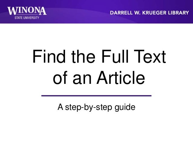 Find the Full Text of an Article A step-by-step guide