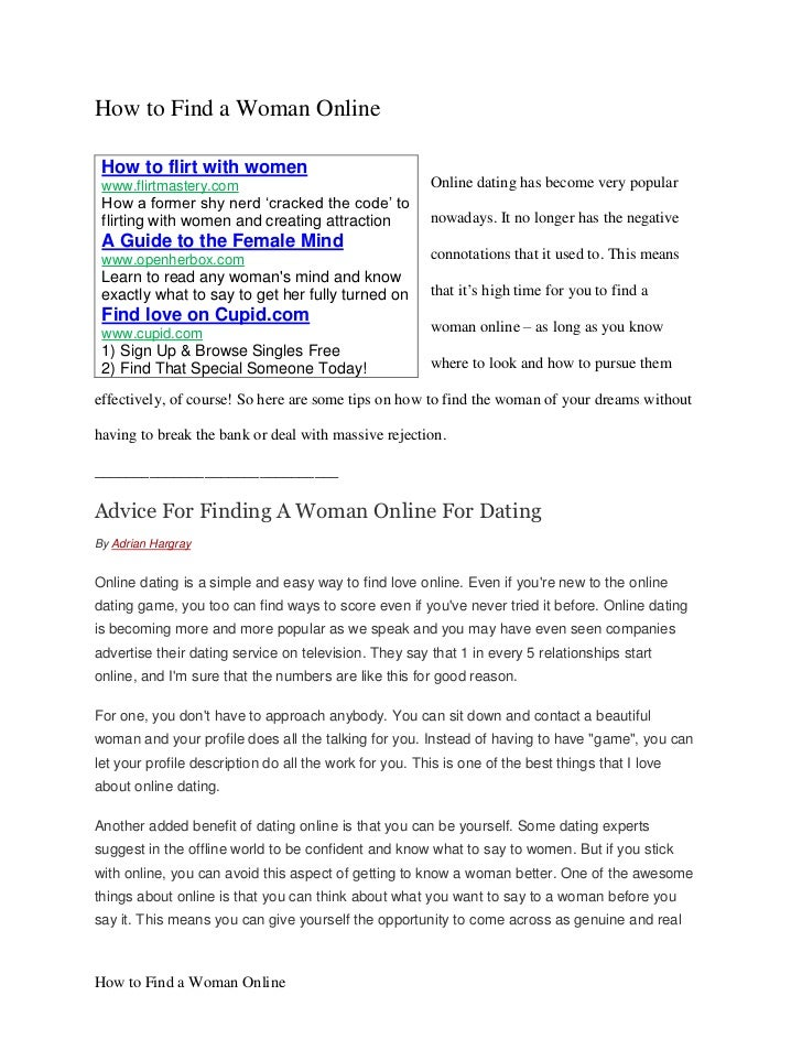 How to find women online