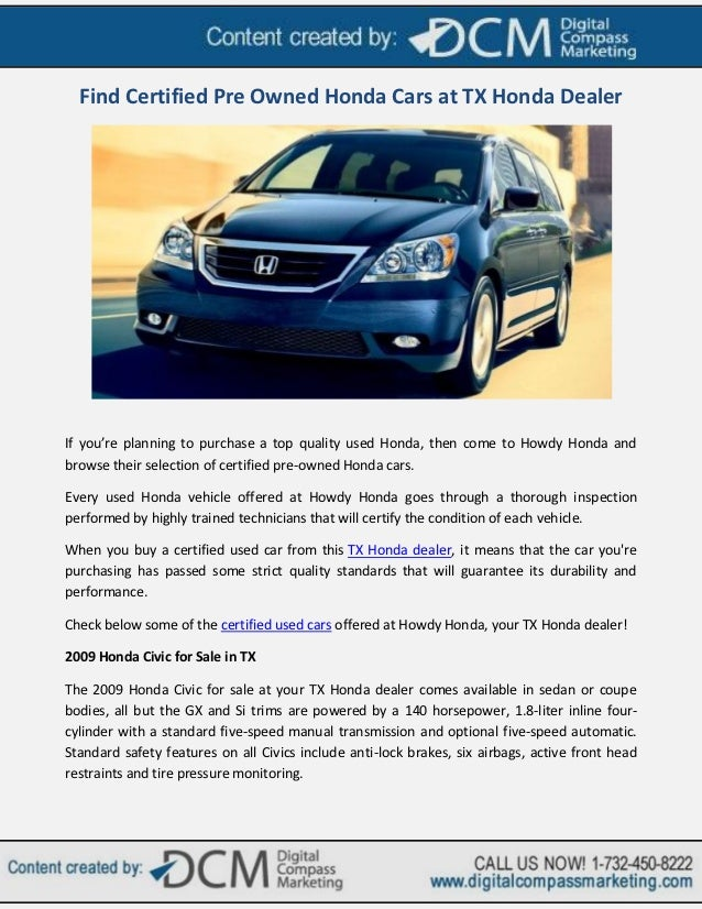 Find Certified Pre Owned Honda Cars At TX Honda DealerIf Youu0027re Planning To  Purchase ...