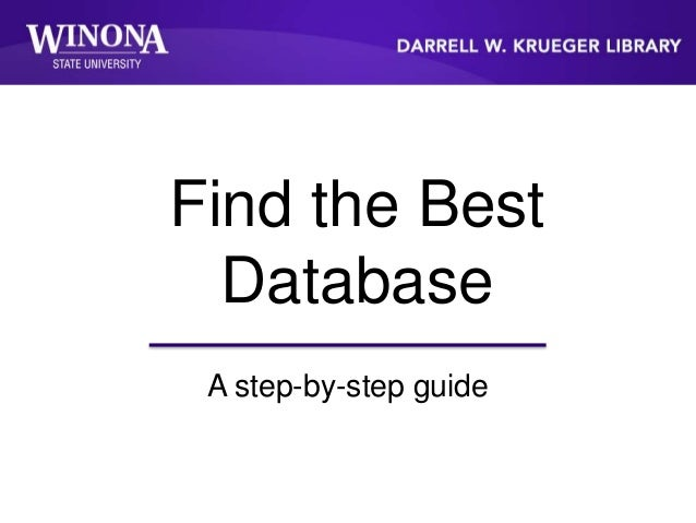 Find the Best Database A step-by-step guide