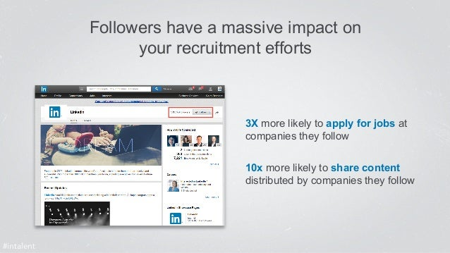 Followers have a massive impact on  your recruitment efforts  3X more likely to apply for jobs at  companies they follow  ...