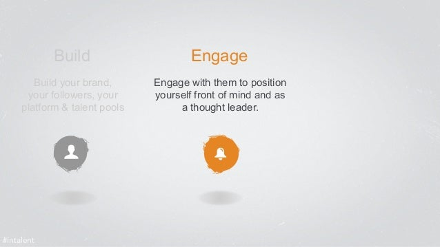 Build Engage  Build your brand,  your followers, your  platform & talent pools  Engage with them to position  yourself fro...
