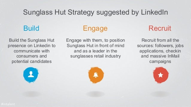 Build Engage Recruit  Build the Sunglass Hut  presence on Linkedin to  communicate with  consumers and  potential candidat...