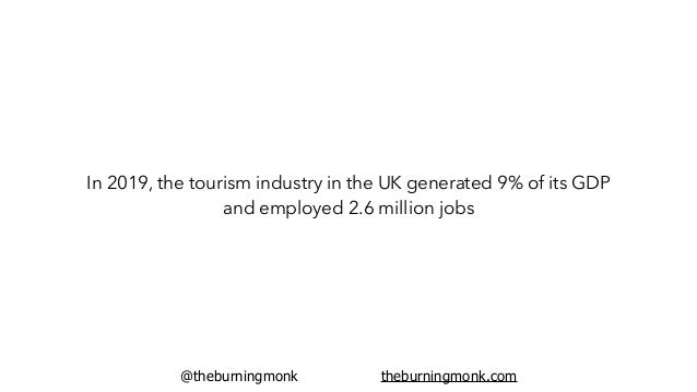 @theburningmonk theburningmonk.com In 2019, the tourism industry in the UK generated 9% of its GDP and employed 2.6 millio...