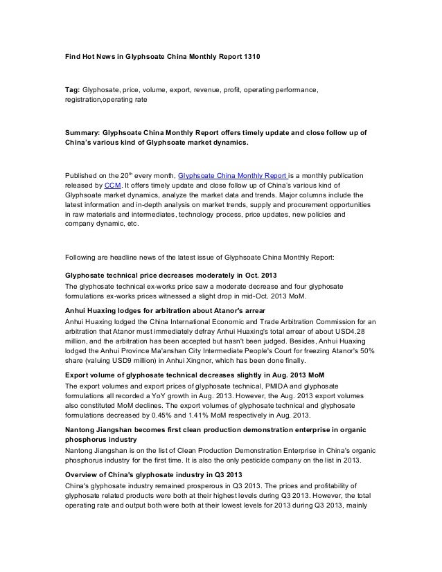 Find Hot News in Glyphsoate China Monthly Report 1310  Tag: Glyphosate, price, volume, export, revenue, profit, operating ...