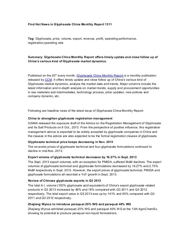 Find Hot News in Glyphsoate China Monthly Report 1311  Tag: Glyphosate, price, volume, export, revenue, profit, operating ...