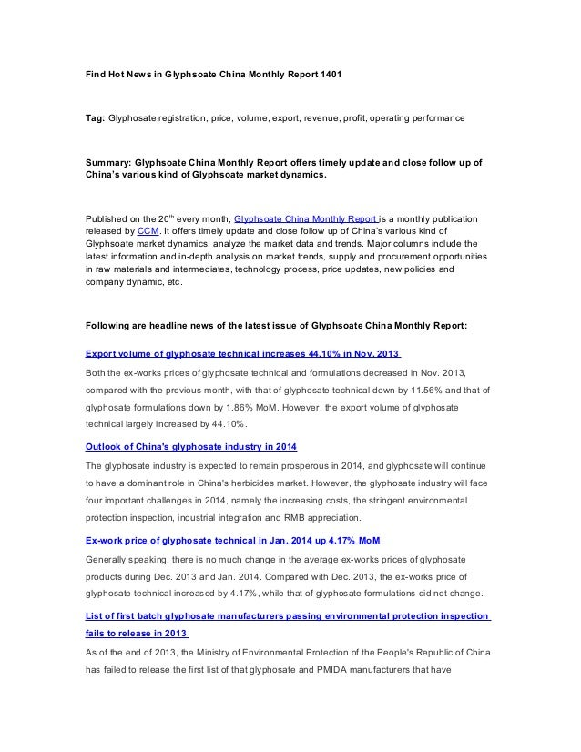 Find Hot News in Glyphsoate China Monthly Report 1401  Tag: Glyphosate,registration, price, volume, export, revenue, profi...