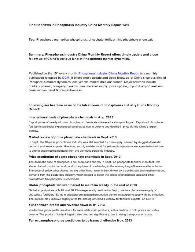 Find Hot News in Phosphorus Industry China Monthly Report 1310  Tag: Phosphorus ore, yellow phosphorus, phosphate fertiliz...