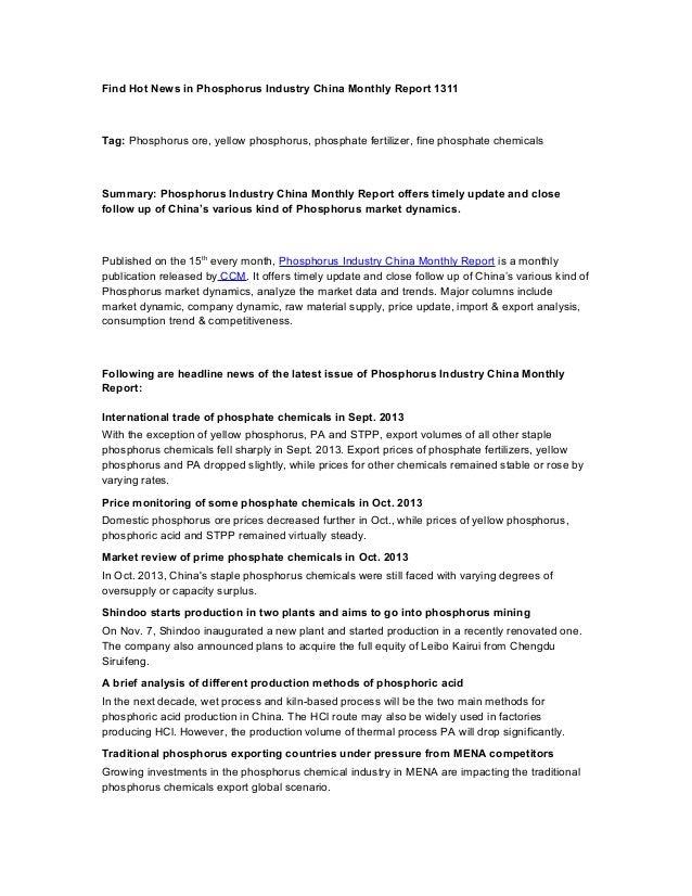 Find Hot News in Phosphorus Industry China Monthly Report 1311  Tag: Phosphorus ore, yellow phosphorus, phosphate fertiliz...