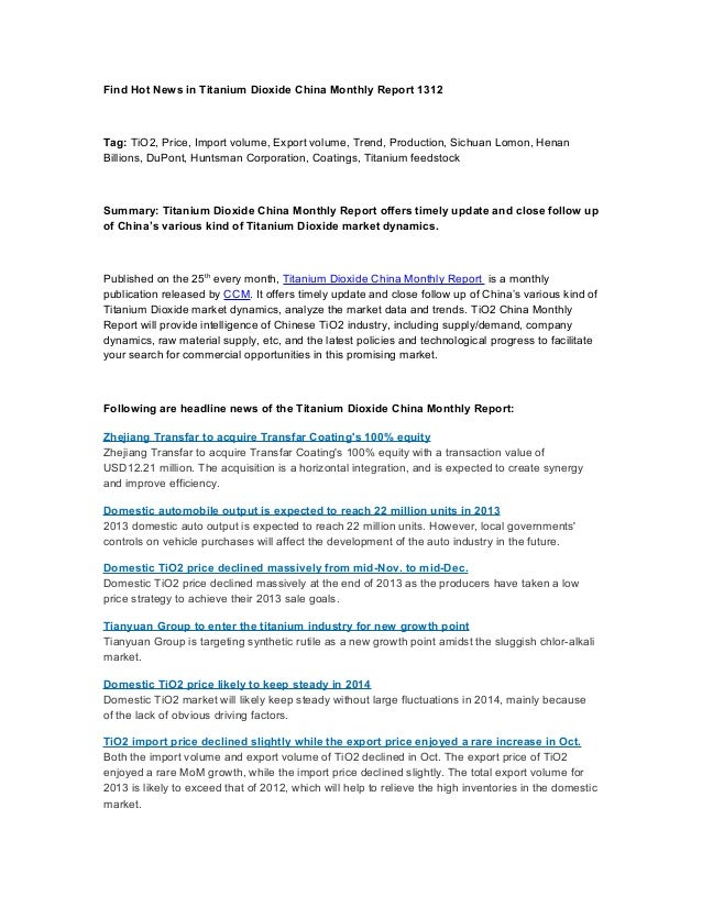 Find hot news in titanium dioxide china monthly report 1312