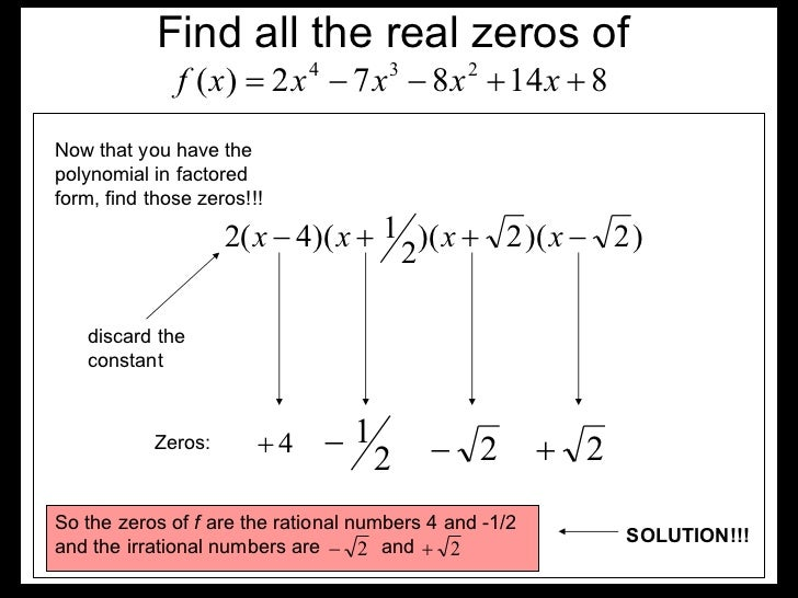 Finding All Real Zeros Of A Polynomial With Examples