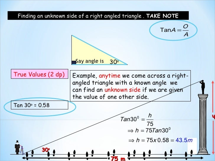 Finding an unknown side of a right angled triangle . TAKE NOTE                                                            ...