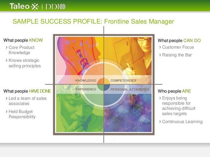 sample success profile  frontline sales