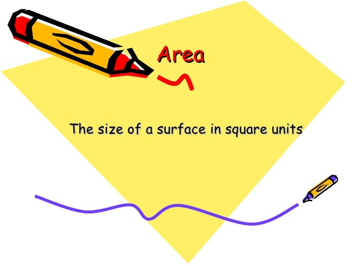 Area The size of a surface in square units