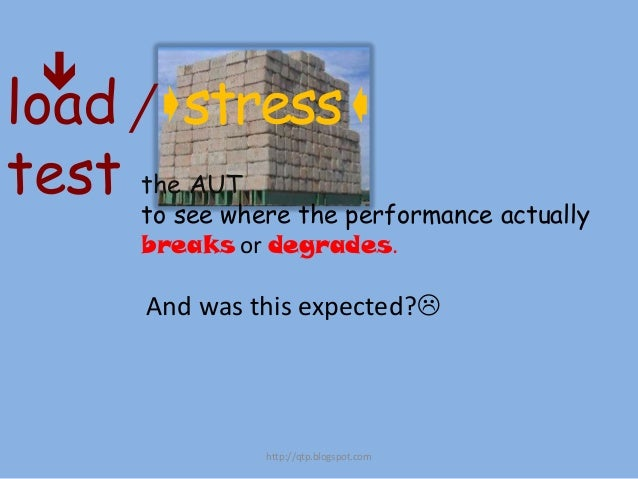   load /stress  test the AUT  to see where the performance actually breaks or degrades.  And was this expected?  http:...
