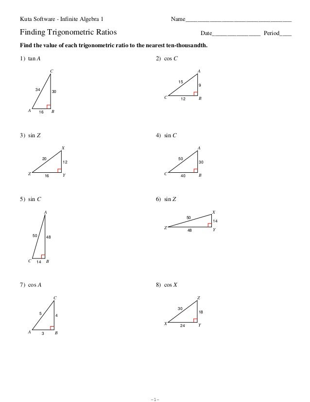 Trig Ratio Worksheets worksheet math
