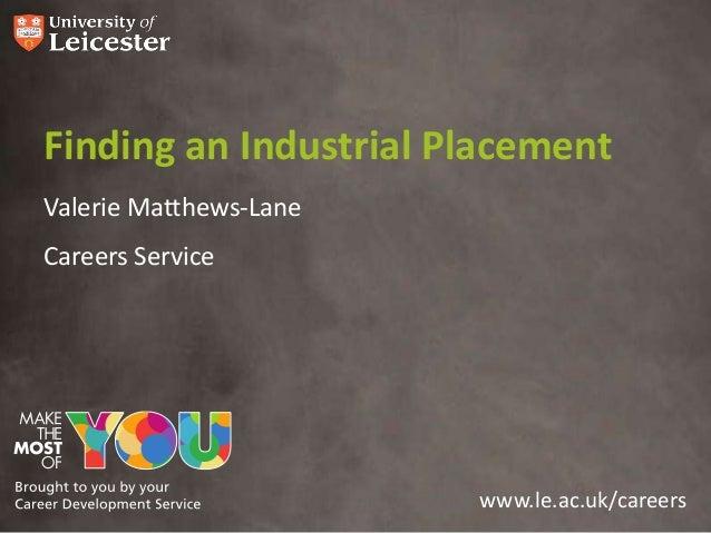 Finding an Industrial PlacementValerie Matthews-LaneCareers Service                        www.le.ac.uk/careers
