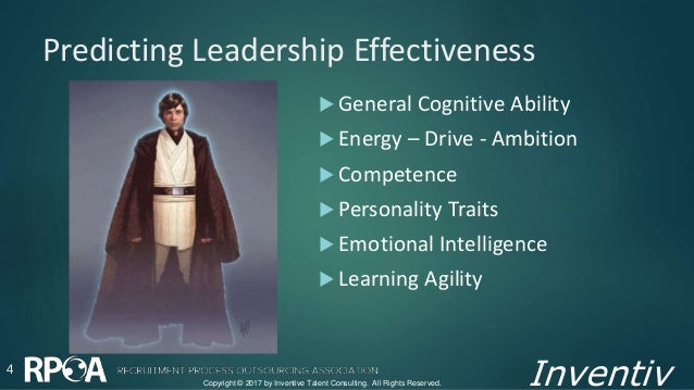 Inventiv Predicting Leadership Effectiveness 4  General Cognitive Ability  Energy – Drive - Ambition  Competence  Pers...