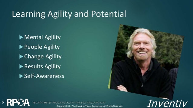 Inventiv Learning Agility and Potential  Mental Agility  People Agility  Change Agility  Results Agility  Self-Awaren...