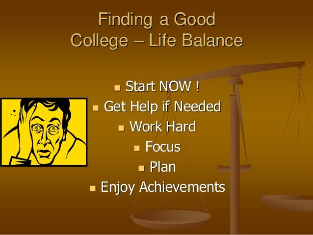 Finding Balance College Work Life A Powerpoint Presentation