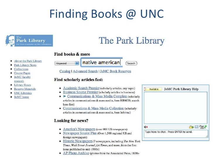 Finding Books @ UNC<br />