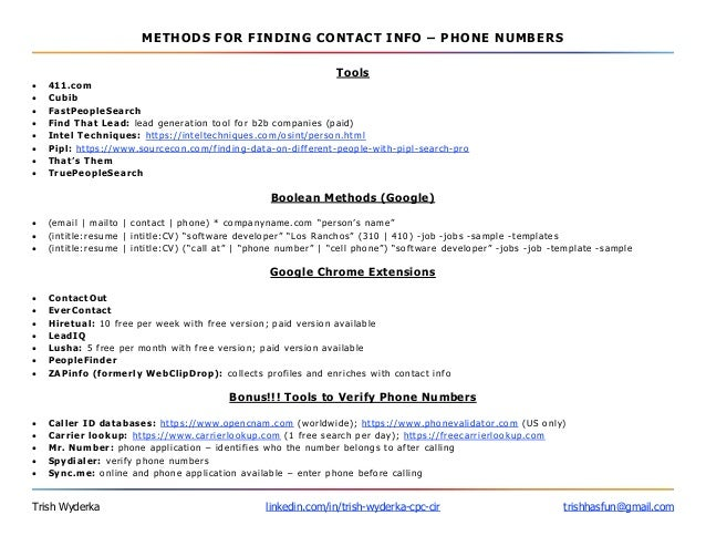 phone numbers and addresses