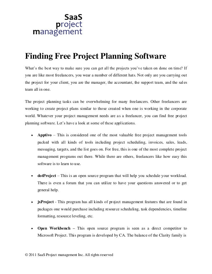 Finding free project planning software